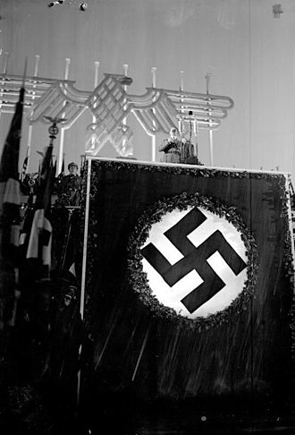 Occultism in Nazism - Hitler speaking at a huge mass meeting, the Nuremberg Rally 1934