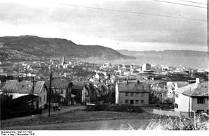 Nordstern - German archival photo of Trondheim and Trondheim Fjord, November 1942.