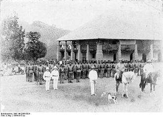 Military history of Africa - Military company of Ebolowa, Colonial German Cameroon, c. 1894/1915.