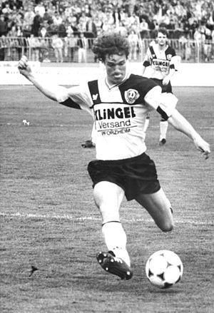 Torsten Gütschow - Gütschow takes a shot in a match against FC Berlin in 1990.