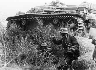 Battle of Stalingrad - German infantry and a supporting StuG III assault gun during the battle