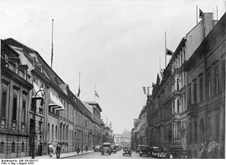 Wilhelmstrasse - Wilhelmstrasse in 1934, Reich Chancellery and Foreign Office on the left