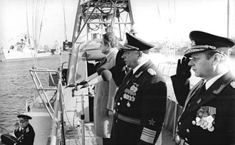 Ministry of National Defence (East Germany) - Wilhelm Ehm, middle, at a Fleet parade for the 30th Anniversary of the German Democratic Republic in 1979.
