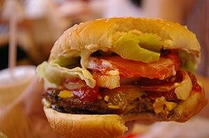 A hamburger served in a Burger King in Hong Kong