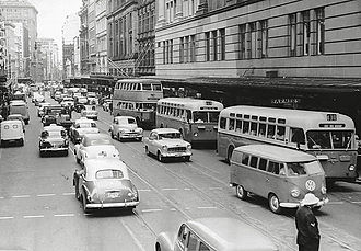 Rail replacement bus service - Image: Buses replace trams, c.1962 (2742915440)