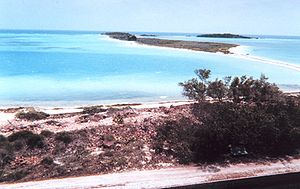 Dry Tortugas - Bush Key (background) seen from Garden Key (foreground), with Long Key in the very back right