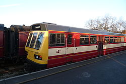 Butterley railway station, Derbyshire, England -train-19Jan2014.jpg