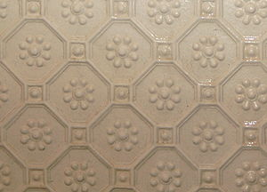 Lincrusta - Detail of Byzantine pattern Lincrusta wall covering