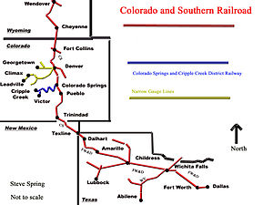 Colorado and Southern Railway - Image: C&S RR map