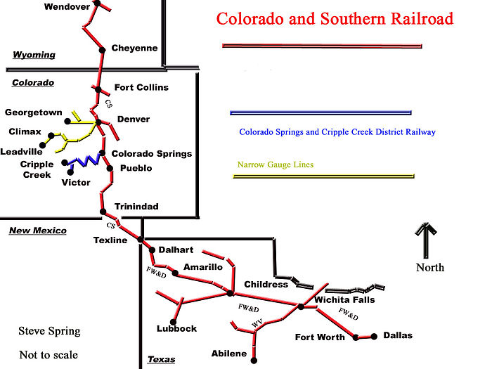Map of the Colorado & Southern Railroad lines, including the Fort Worth and Denver City lines in Texas C&S RR map.jpg