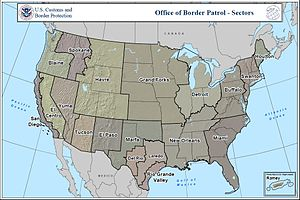 Homeland Security Grant Program - Map of the U.S. Customs and Border Patrol sectors, wherein OPSG seeks to aid border security