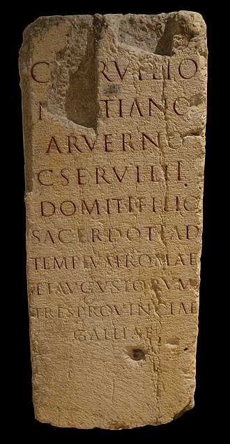 Sanctuary of the Three Gauls - Inscription of Gaius Servilius Martianus, of the Arverni, who served as a priest (sacerdos) at the Temple of Roma and the Augusti