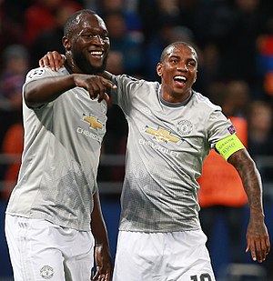 Ashley Young - Young (right) playing alongside Romelu Lukaku for Manchester United in 2017