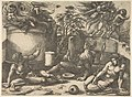 Cain in the center holding a mirror watching his sacrifice seated near Adam and Eve, in the background an angel expelling them from Paradise MET DP812764.jpg