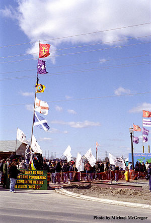 "Grand River land dispute - The entrance to the disputed land during the October 15 ""Potluck for Peace"" held by the people on the site and their supporters."