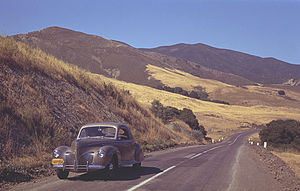 California State Route 41 - Morro Bay - Atascadero Road in 1940. Car is a then-new 1940 Lincoln-Zephyr.