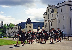 Blair Castle - The Atholl Highlanders parade in front of Blair Castle