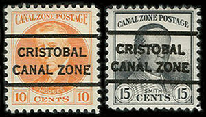 Postage stamps and postal history of the Canal Zone - Two Canal Zone stamps showing precancels.
