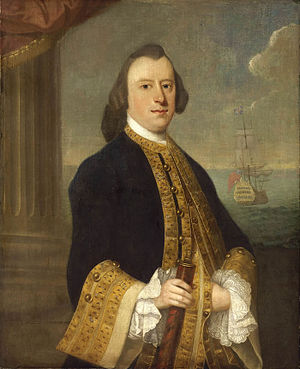 Jeremiah Theus - Captain John Reynolds, oil on canvas, National Maritime Museum
