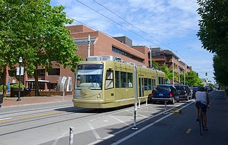 Seattle Streetcar - An Inekon 121-Trio streetcar operating on battery power on the First Hill Streetcar line in 2016