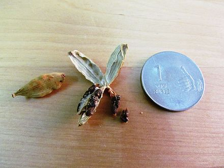 A dried cardamom and a peeled one Cardamom (Kerala, India).jpg
