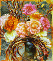 "Carnations and bee, 18x20"", oil and gold leaf on wood, by John Murdoch.jpg"
