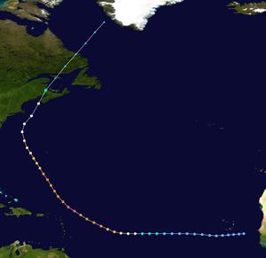 Hurricane Carol (1953) - Image: Carol 1953 track