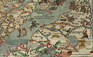 White Ruthenia - Russia Alba between Livonia Aquilonaris and Moscovie Pars from the map Carta Marina by Olaus Magnus, 1539
