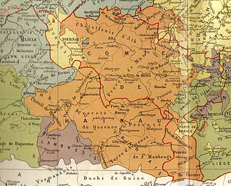 Hainaut (province) - Historical map of the County of Hainaut, with in red the current French-Belgian border.