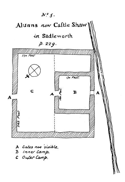 A plan of Castleshaw drawn by Thomas Percival in 1752 showing the fort and the later fortlet Castleshaw plan 1752.jpg