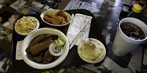 Barbecue in Texas - A plate of Central Texas Style BBQ. Potato salad is ubiquitous in Texas barbecue as a side dish.