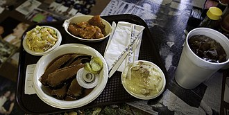 Barbecue in Texas - A plate of South Texas Style BBQ. Potato salad is common in Texas barbecue as a side dish.