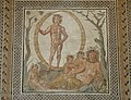Central part of a large floor mosaic depicting Aion, the god of eternity, and Tellus, a goddess of the earth, from a Roman villa in Sentinum (Italy), ca. 200–250 C.E, Glyptothek, Munich (13271543954).jpg