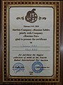 Certificate for purchase the biggest collection of mink at the Fourth Baikal International Fur Auction, Auction Company -Russian Fur-, Susanna & Klaus Ribak, February 8-9, 2019.jpg
