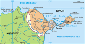 Map of Ceuta (Perejil islet is just off the coast, in the upper left of this map)