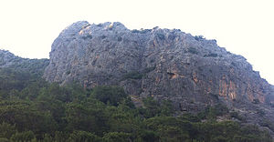 Mount Chamoda - Çamoda as seen from the Olympos valley, past the ruins