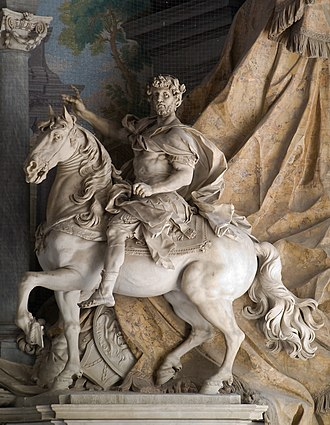 Statue of Charlemagne by Agostino Cornacchini (1725), at St. Peter's Basilica, Vatican City. Charlemagne promoted the usage of the Anno Domini epoch throughout the Carolingian Empire. Charlemagne Agostino Cornacchini Vatican 2.jpg