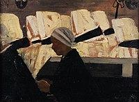 Charles Cottet Enterrement en Bretagne 1900 Huile sur bois.jpg