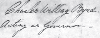 Charles Willing Byrd - 1803 signature