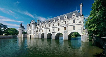 The Chateau de Chenonceau, nowadays part of a UNESCO World Heritage site, was built in the early 16th century. Chateau de Chenonceau 2008E.jpg
