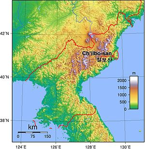 Chilbosan (North Hamgyong) - Map of North Korea, showing location of Chilbosan.