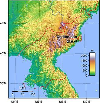 Chilbosan (North Hamgyong) - Map of North Korea, showing location of Chilbosan.
