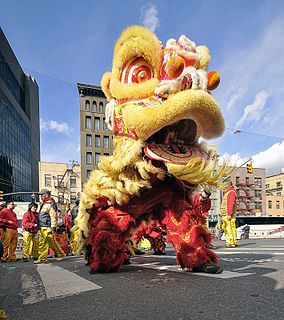Lion dance traditional Chinese dance in which performers mimic a lion in a lion costume to bring good luck and fortune, usually performed during the Chinese New Year and other important days