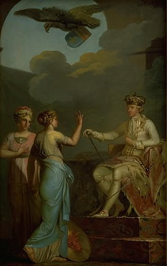 Duchy of Holstein - Allegorical depiction of Christian VII of Denmark uniting the royal and ducal parts of Holstein, painted by Nicolai Abildgaard