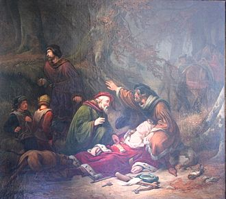 Valdemar the Young - Death of Valdemar the Young, portrayed by the Danish painter Christian Emil Andersen, 1843.