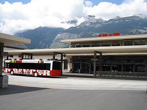 Chur railway station - The bus station on Bahnhofplatz