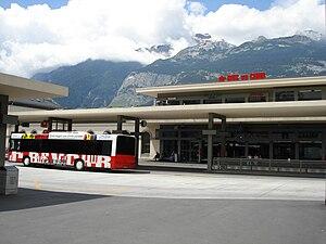 Chur railway station - The bus station on Bahnhofplatz
