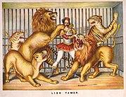 Tresura dzikich zwierząt. Grafika z 1873
