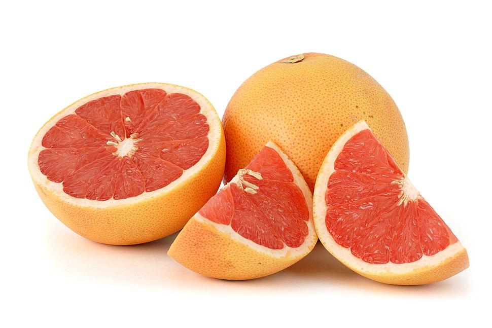 Citrus paradisi (Grapefruit, pink) white bg