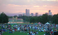The Denver skyline from City Park during a fre...